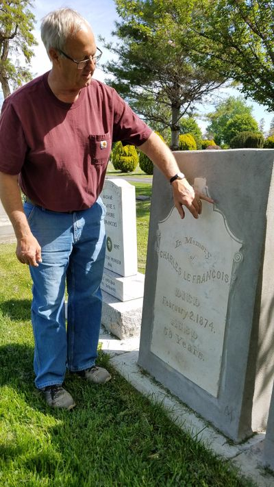 Former city of Lewiston mason Russ Boland encased crumbling historic headstones in concrete, allowing the original headstones to be restored to the graves at the Normal Hill Cemetery at Lewiston. (Pete Caster / Lewiston Tribune)