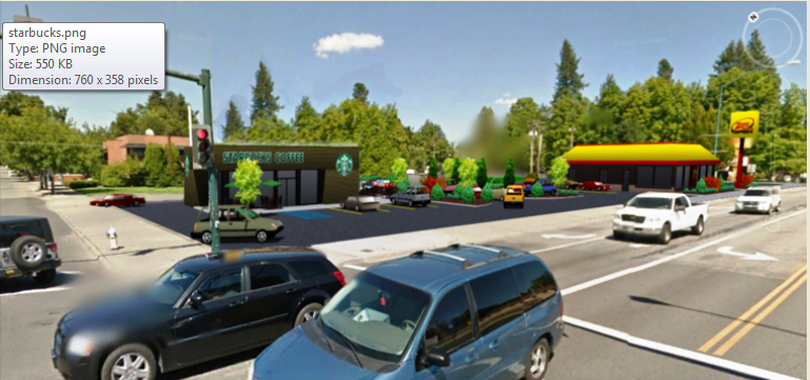 The City of Coeur d'Alene's Planning Commision is being asked to make an interpretation about downtown drive-thu uses as the result of plans to create a drive-thru Starbucks restaurant at the corner of Sherman and 7th Avenue. (Photo courtesy of city planning department via Coeur d'Alene Press)
