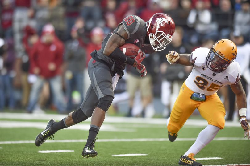 WSU receiver Dom Williams (80) scores a touchdown against Arizona State during the first half of a Pac-12 college football game on Saturday, Nov 7, 2015, at Martin Stadium in Pullman, Wash. (Tyler Tjomsland / The Spokesman-Review)