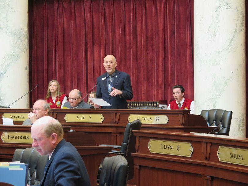 Sen. Steve Vick, R-Dalton Gardens, debates in favor of HB 463, the tax-cut bill, in the Idaho Senate on Thursday, March 1, 2018. (Betsy Z. Russell)