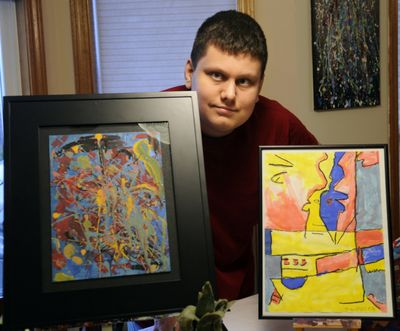 """Diagnosed with autism spectrum disorder, James Frye has found his own form of communication through art. His piece, """"Fractural Faces,"""" right, was accepted in Upstream People Gallery's 13th Annual Faces Juried Online International Art Exhibit. (J. Bart Rayniak)"""