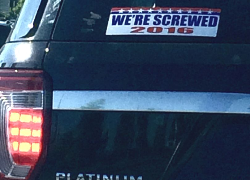 SR photog Kathy Plonka snapped this photo with her cell phone en route to the office today, at s/b Northwest Boulevard, near Riverstone. It appears that the driver isn't impressed with the presidential nominees from the major parties.