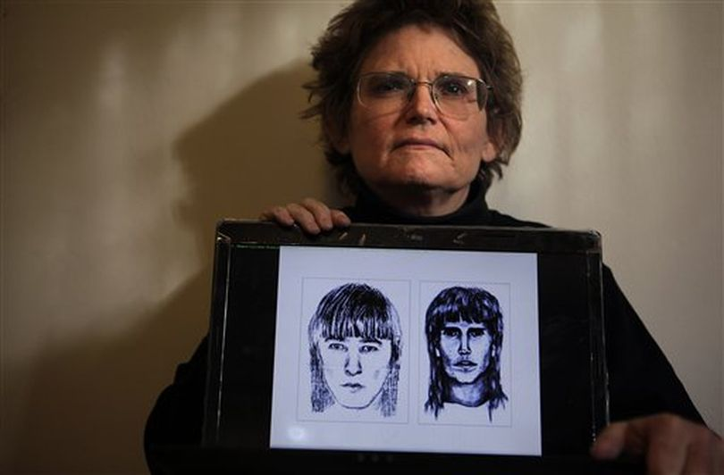 Forensic genealogist Colleen Fitzpatrick poses with her laptop showing two composite sketches of a suspect in the 1991 killing of a Washington teenager, in Huntington Beach, Calif., Wednesday, Jan. 11, 2012. The analysis on a DNA profile from the suspect shows that he is distantly related to three passengers who arrived in what is now Plymouth, Mass., on the Mayflower in 1620. Fitzpatrick who did the analysis believes there's a decent chance that the killer shares their last name, Fuller. ((AP Photo/Jae C. Hong))