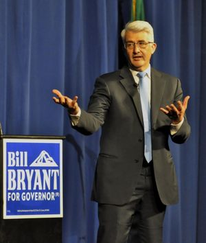 Republican gubernatorial candidate Bill Bryant makes his pitch to an estimated crowd of 1,000 at a rally at the Tacoma Convention Center on Saturday, June 25, 2016. (Jim Camden / The Spokesman-Review)