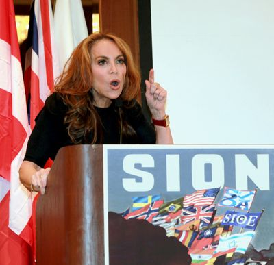 In this Sept. 11, 2012 photo, anti-Islamic blogger Pamela Geller, speaks at a conference she organized entitled; �Stop Islamization of America,� in New York. An advertising campaign initiated by Geller�s group, �The American Freedom Defense Initiative,� will have its ads that equate foes of Israel with �savages� appearing in 10 New York City subway stations after a federal judge ordered the Metropolitan Transportation Authority to put them up. (David Karp / Fre50733 Ap)