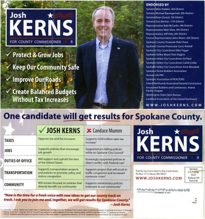 A campaign mailer for Spokane County commissioner candidate Josh Kerns.