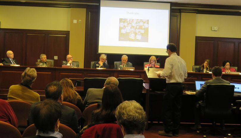 Basin School District Superintendent John McFarlane discusses pre-K education with the Idaho Senate Education Committee at a well-attended, but rushed, informational hearing on Wednesday, Feb. 22, 2017. (Betsy Z. Russell)
