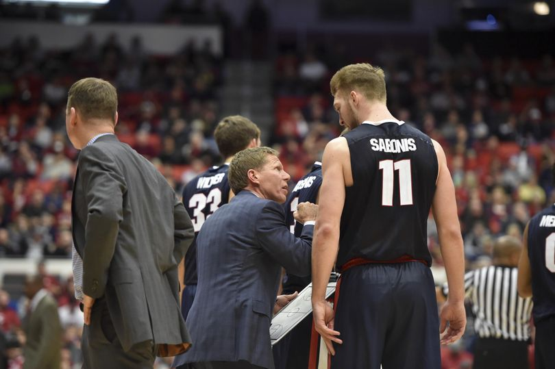 Gonzaga head coach Mark Few gives pointers to forward Domantas Sabonis against WSU during the second half of a college basketball game on Wednesday, Dec 2, 2015, at Beasley Coliseum in Pullman, Wash. Gonzaga won the game 69-60. (Tyler Tjomsland / The Spokesman-Review)