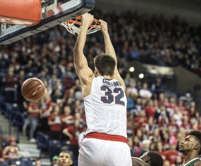 Gonzaga forward Zach Collins slams over Mississippi Valley State, Dec. 1, 2016, in the McCarthey Athletic Center. (Dan Pelle / The Spokesman-Review)