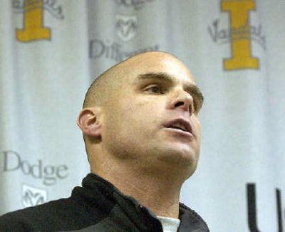 Nick Holt says his goodbyes as Idaho football coach Monday.   (Joe Barrentine / The Spokesman-Review)