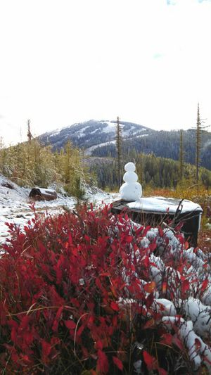 Oct. 10 at about 4800' elevation, snowman-weather in the Inland Northwest; Mount Spokane in the background. (Ed Cairns)