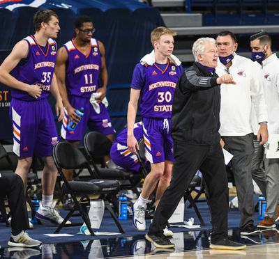 Northwestern State coach Mike McConathy calls a timeout against Gonzaga on Monday in the McCarthey Athletic Center.  (DAN PELLE/THE SPOKESMAN-REVIEW)