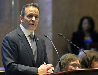 Kentucky Gov. Matt Bevin speaks Jan. 16, 2018, to a joint session of the General Assembly at the Capitol in Frankfort, Ky. A federal judge ruled Friday tat Kentucky cannot require poor people to get a job to keep their Medicaid benefits, chastising President Donald Trump's administration for rubber-stamping the new rules without considering how many people would lose their health coverage. (Timothy D. Easley / Associated Press)