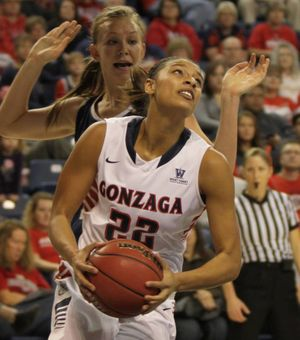 Former West Valley High basketball standout Shaniqua Nilles is fighting for playing time at Gonzaga. (GU Athletics)