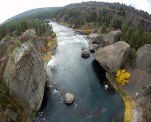 An aerial view above the Bowl and Pitcher in Riverside State Park, Thursday, Oct. 10, 2013. (Jesse Tinsley / The Spokesman-Review)