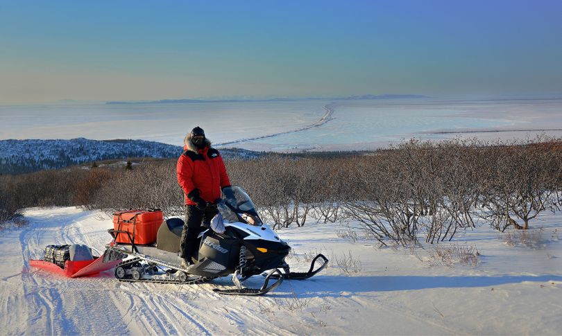 The Iditarod Trail passes over the high escarpment of the Blueberry Hills, which lie between Unalakleet  and Shaktoolik.  Immediately prior to dropping from the higher country and onto the beach, this view