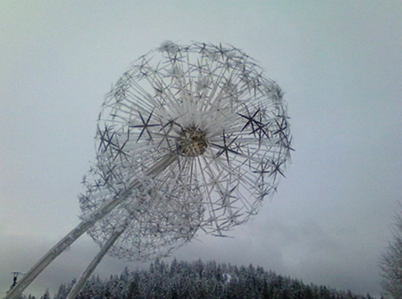 Spudbob sends in this photo of Allium Spring Chorus taken this morning, after Monday's 11.3-inch dump of snow in Coeur d'Alene. Artist David Tonnesen's fine public art display at McEuen Park seems to be holding up well this winter.