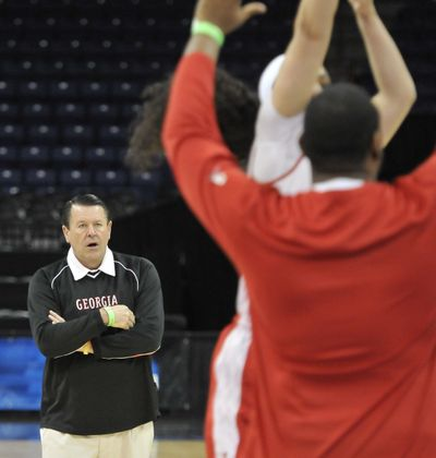 Georgia women's basketball coach Andy Landers watches his team work out Friday at the Arena. (Jesse Tinsley)