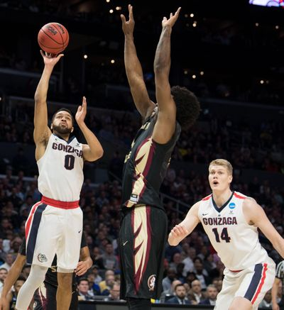 Gonzaga Bulldogs guard Silas Melson (0) shoots against the Florida State Seminoles during the first half of a 2018 NCAA Sweet 16 basketball game on Thursday, March 22, 2018, at Staples Center in Los Angeles, Calif. (Tyler Tjomsland / The Spokesman-Review)