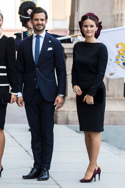Prince Carl Philip of Sweden and Princess Sofia of Sweden pose for a picture upon arriving at the Swedish Parliament House for the opening of the new parliamentary session on Sept. 10, 2019, in Stockholm, Sweden.  (Tribune News Service)