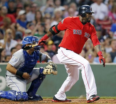 Boston Red Sox's David Ortiz, right, has been struggling with a strained right Achilles since mid-July. (Associated Press)