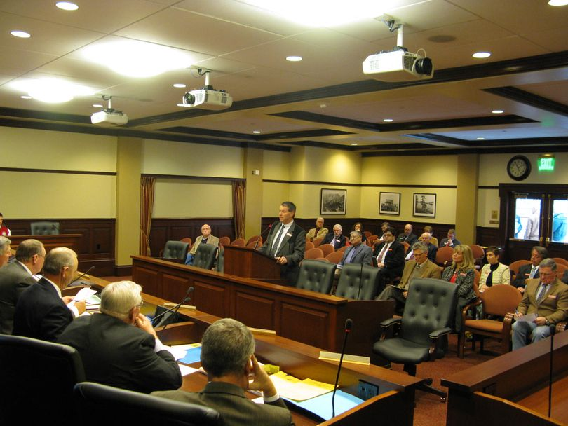 Senate Resources Committee holds confirmation hearing Friday afternoon for Will Naillon of Challis, at microphone, on his appointment to the Idaho Fish & Game Commission. (Betsy Russell)