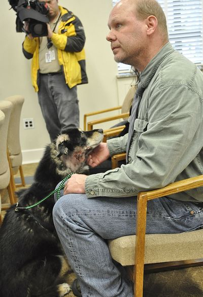 John Stevie was a key witness Wednesday for the hearing at the House Agriculture and Natural Resources Committee. His family dog Shelby was attacked by a wolf 11 nights ago near Twisp, Wash. (Jim Camden)