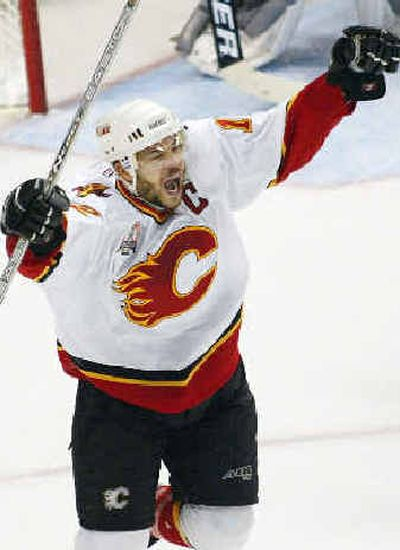 Calgary's Jarome Iginla celebrates his shorthanded goal in Game 1. Calgary's Jarome Iginla celebrates his shorthanded goal in Game 1.   (Associated PressAssociated Press / The Spokesman-Review)