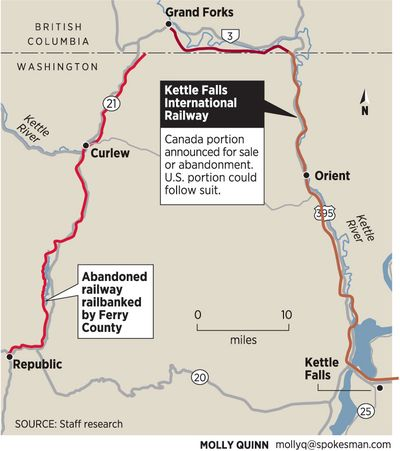 A portion of a railroad running from Grand Forks, British Columbia, to Kettle Falls, Wash., has been declared for sale or abandonment. (Molly Quinn / The Spokesman-Review)