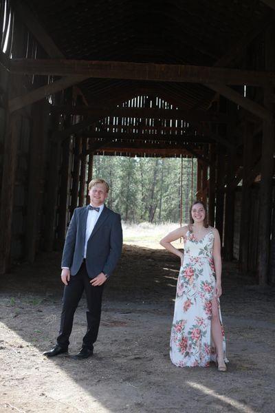 Ferris High School seniors Will Clements and longtime friend Ellie Brueggemeier attended a virtual prom livestream organized by actor John Krasinski of The Office. (Courtesy)