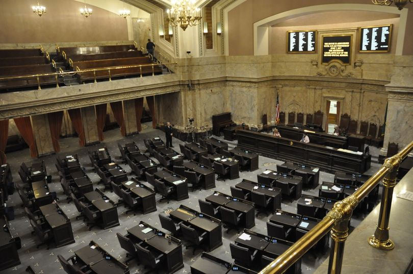 OLYMPIA -- A pro forma session of the House of Representatives, as seen from the north gallery. (Jim Camden/The Spokesman-Review)