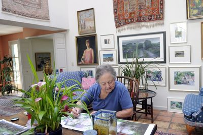 Mary Dewey's Southwest Spokane home features a mix of  her artwork as well as collectibles from around the world.  (Jesse Tinsley / The Spokesman-Review)