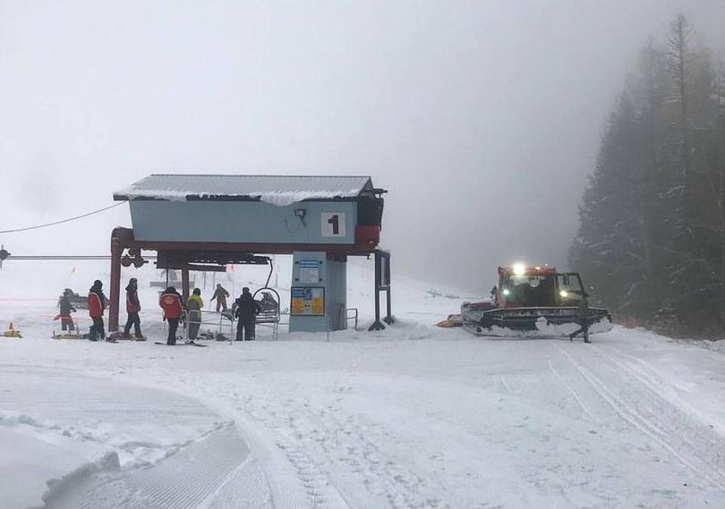 49 Degrees North staff cranks up the lifts on Nov. 10, 2017, for the start of the Chewelah-area resort's winter season. (Courtesy)