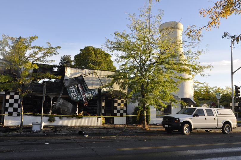 Dawn today revealed the extent of damage to Ferguson's and the Milk Bottle. (Mike Prager)