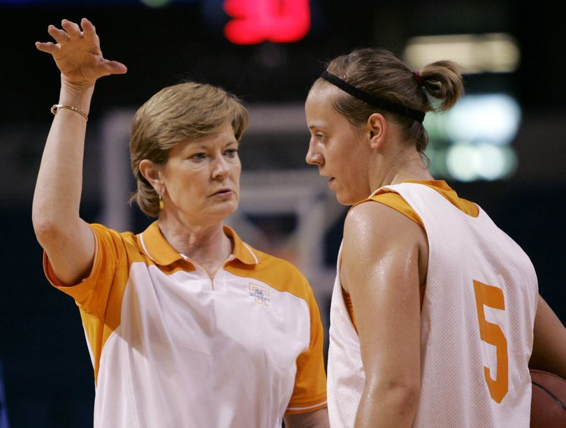 Tennessee coach Pat Summitt, left, instructs former University High standout Angie Bjorklund during practice for the NCAA Women's Final Four basketball game on April 5, 2008, in Tampa, Fla. Summitt died on Tuesday at age 64. (Gerry Broome / Associated Press)