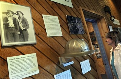 Director Dorothy Dahlgren  incorporated the stories of women in the logging industry in an exhibit at the Museum of North Idaho.  (Kathy Plonka / The Spokesman-Review)