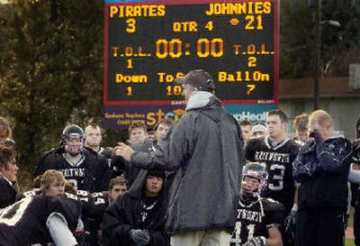 Whitworth coach John Tully addresses his team after the game.   (Christopher Anderson / The Spokesman-Review)