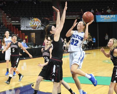 Colton's Dakota Patchen (32) shoots against Almira/Coulee-Hartline during a WIAA State basketball game on Thursday, March 1, 2018, at Spokane Arena. (Tyler Tjomsland / The Spokesman-Review)
