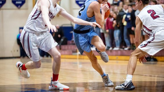 Central Valley's Dylan Darling navigates his way through the defense during a Greater Spokane League game at Mt. Spokane on Jan. 7, 2020. (Libby Kamrowski / The Spokesman-Review)