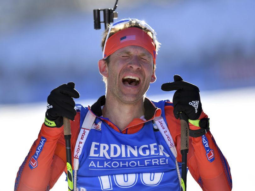 Winner Lowell Bailey of the United States celebrates after the men's 20 km individual competition at the Biathlon World Championships in Hochfilzen, Austria, Thursday, Feb. 16, 2017. (Kerstin Joensson / Associated Press)
