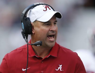 In this April 22, 2017 photo, Alabama defensive coordinator Jeremy Pruitt yells to his team during Alabama's annual A-Day spring NCAA football game in Tuscaloosa, Ala. Tennessee has hired Pruitt as its head coach on Thursday, Dec. 7, 2017, capping a tumultuous search that cost an athletic director his job as the Volunteers attempt to recover from one of their most disappointing seasons. (Gary Cosby Jr. / Associated Press)
