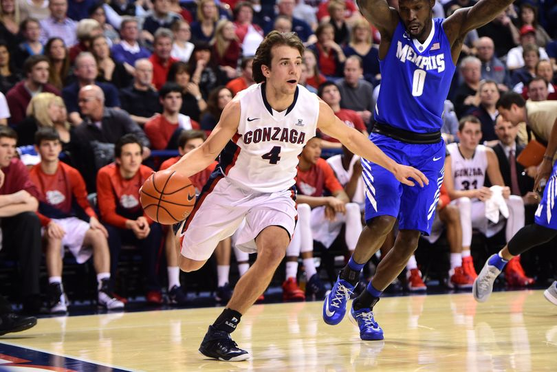 Gonzaga guard Kevin Pangos drives the ball downcourt against Memphis in January. (Tyler Tjomsland)