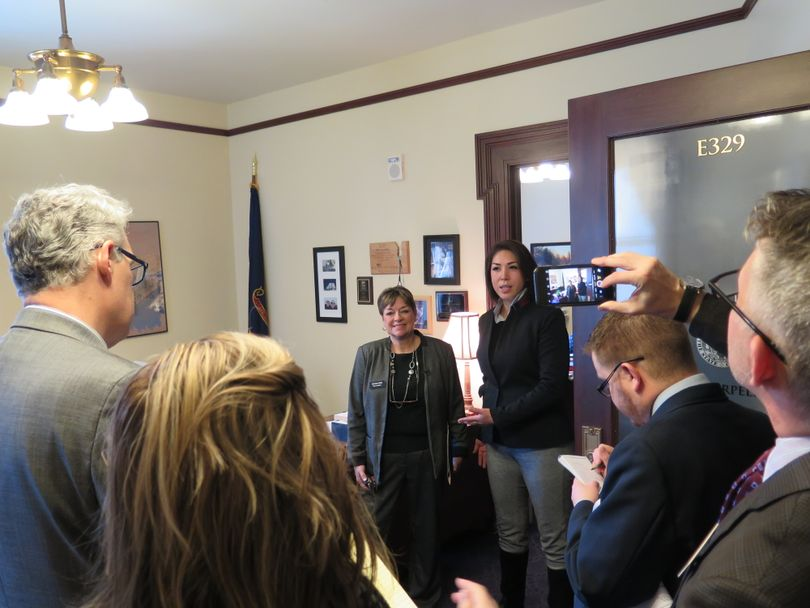 House Democratic Reps. Sally Toone, D-Gooding, and Paulette Jordan, D-Plummer, announce proposed legislation to grant student loan forgiveness to teachers in struggling rural Idaho schools (Betsy Z. Russell)
