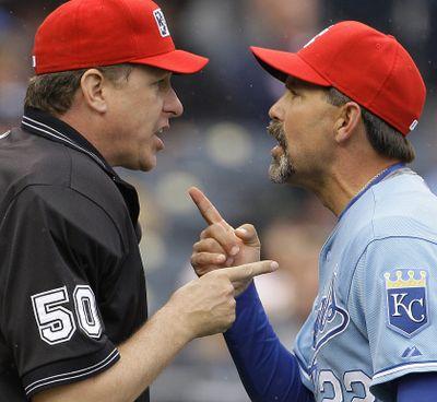 Royals manager Trey Hillman disputes spitting claim. (Associated Press / The Spokesman-Review)