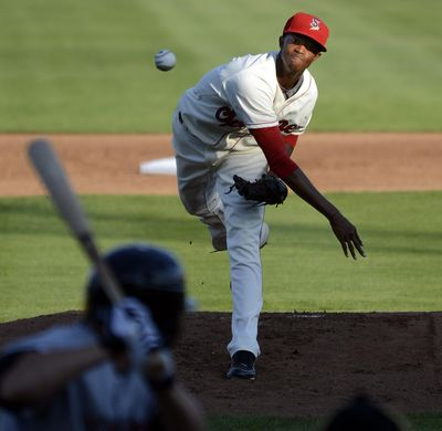 Spokane Indians pitcher C.J. Edwards brings the heat against the Yakima Bears back in 2012 at Avista Stadium. (Dan Pelle / The Spokesman-Review)