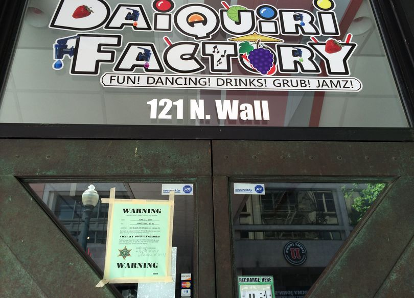 An eviction notice was posted on the doors to the Daiquiri Factory on Monday. (Colin Mulvany)
