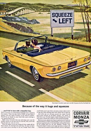 """The Chevy Corvair appeared in 1960 and lasted until 1969 as an innovative all-new compact car with a rear mounted air-cooled engine. Motor Trend Magazine named the Corvair its """"Car of the Year"""" in 1960, but bad publicity in a 1965 book about vehicle safety doomed the line."""