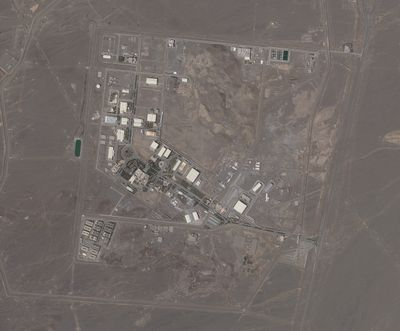 This satellite photo provided from Planet Labs Inc. shows Iran's Natanz nuclear facility on Wednesday, April 14, 2021. Iran began enriching uranium Friday, April 16, 2021, to its highest level ever at Natanz, edging closer to weapons-grade levels to pressure talks in Vienna aimed at restoring its nuclear deal with world powers after an attack on the site.  (HONS)