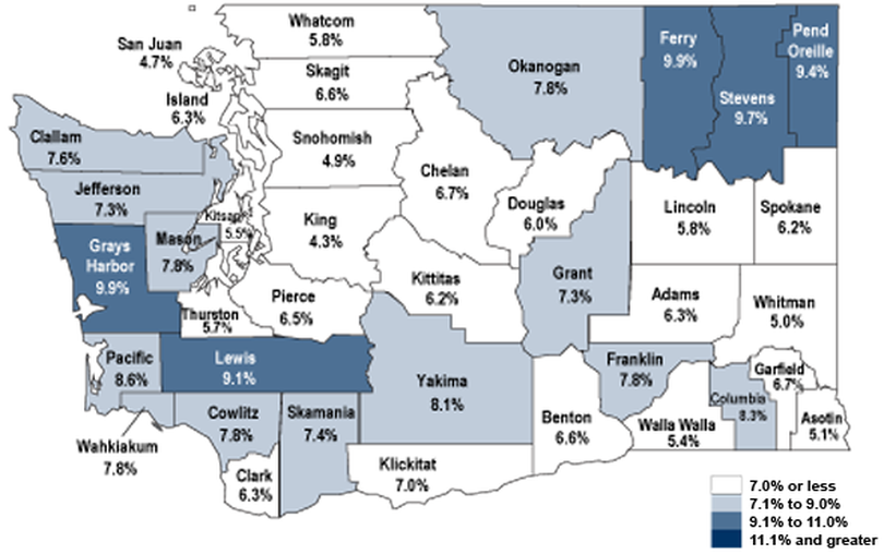 Map of unemployment rates for April 2014 in Washington state counties. (Washington Employment Security Department)