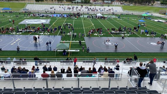 Wrestling mats line the field of Union Stadium during the Greater Spokane League championships on Wednesday.  (Courtesy of John Barrington/Mead Athletics)